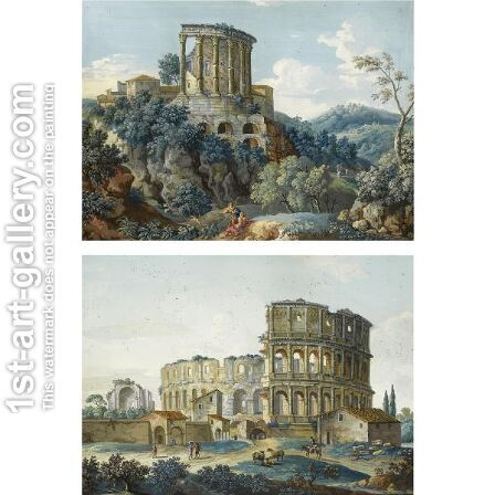 A Pair Of Views The Colosseum And The Temple Of Vesta, Tivoli by Giovanni Battista Busiri - Reproduction Oil Painting
