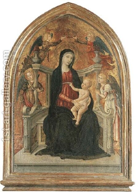 The Madonna and Child enthroned with angels by Guidoccio Cozzarelli - Reproduction Oil Painting