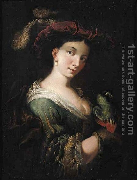 A lady in a feathered hat, holding a parrot by Christian Wilhelm Ernst Dietrich - Reproduction Oil Painting