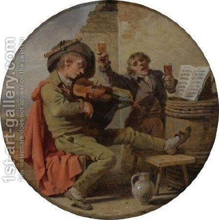 The Musician And The Drinker by Martin Drolling - Reproduction Oil Painting