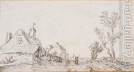 Cottages to the left, two figures on a path in the center, and trees to the right by Jan van Goyen - Reproduction Oil Painting
