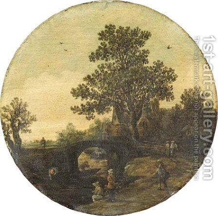 A river landscape with fishermen by a bridge by Jan van Goyen - Reproduction Oil Painting