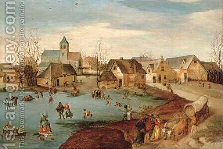 Winter a village scene with skaters on a frozen lake by Jacob Grimmer - Reproduction Oil Painting