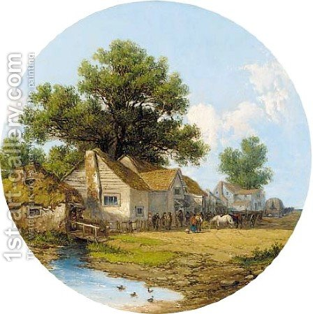 Figures before a cottage in a wooded landscape by James Holland - Reproduction Oil Painting