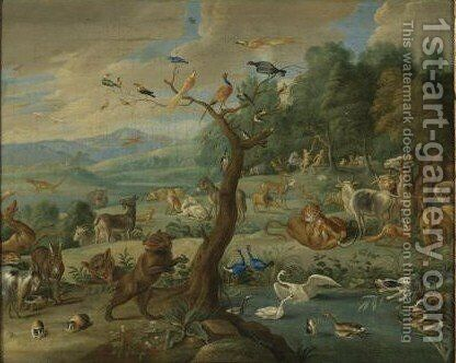 The Garden Of Eden 2 by Jan van Kessel - Reproduction Oil Painting
