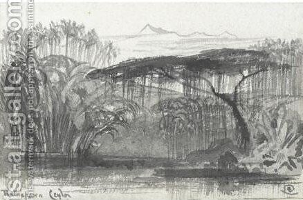 View Of Rulnapoora, Sri Lanka by Edward Lear - Reproduction Oil Painting