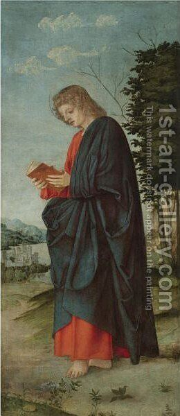 Saint John The Evangelist In A Landscape by Girolamo dai Libri - Reproduction Oil Painting