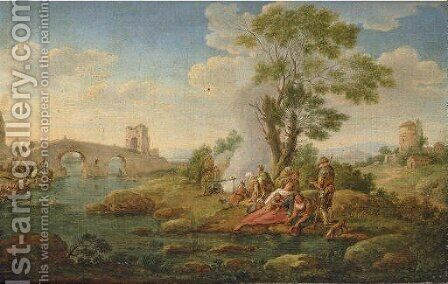 A river landscape with pilgrims resting by a stream by Hendrik Frans van Lint (Studio Lo) - Reproduction Oil Painting