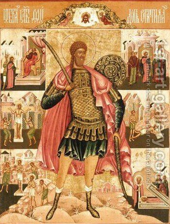 Saint Theodore Stratilates by - Unknown Painter - Reproduction Oil Painting