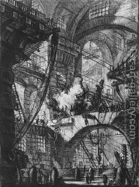Carceri d'Invenzione 4 by Giovanni Battista Piranesi - Reproduction Oil Painting