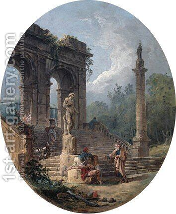 Figures conversing on a ruined staircase by Hubert Robert - Reproduction Oil Painting