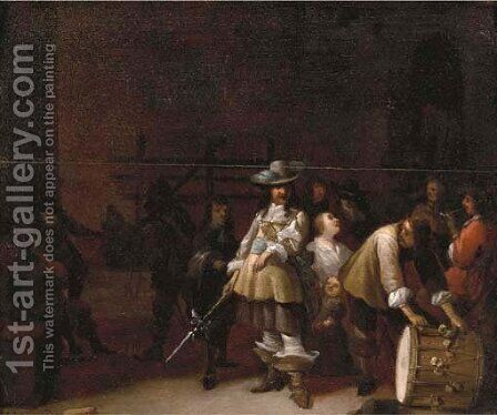 A guardroom interior with a cavalier conversing with a drummer by Anthonie Palamedesz. (Stevaerts, Stevens) - Reproduction Oil Painting