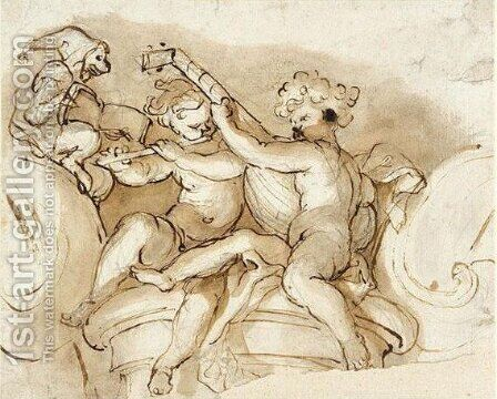 Two music making putti by Domenico Piola - Reproduction Oil Painting