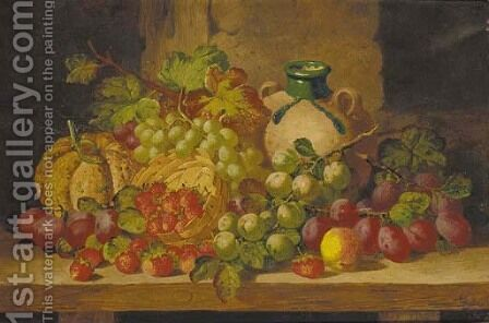 A basket of strawberries with plums, grapes, a squash and a bottle on a wooden ledge by Charles Thomas Bale - Reproduction Oil Painting