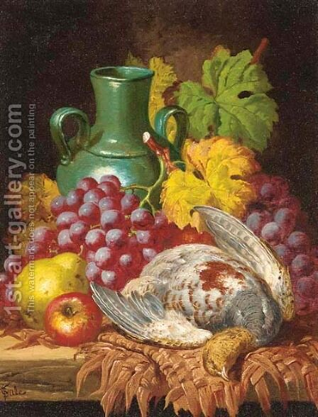 Grapes, a grouse, a pear, an apple, and a ceramic vase, on a table by Charles Thomas Bale - Reproduction Oil Painting