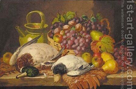 A basket of fruit with a jug and dead game on a wooden ledge by Charles Thomas Bale - Reproduction Oil Painting