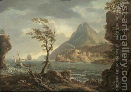 A Coastal Landscape, A Castle At The Mouth Of An Estuary by Copplestone Warre Bamfylde - Reproduction Oil Painting