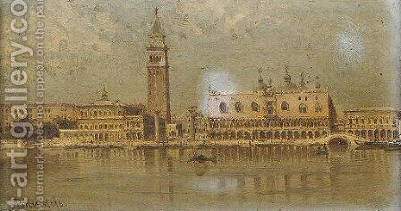 On the Lagoon before Piazza San Marco, Venice by Antonietta Brandeis - Reproduction Oil Painting