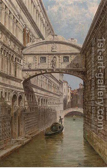 A gondolier at the Bridge of Sighs by Antonietta Brandeis - Reproduction Oil Painting