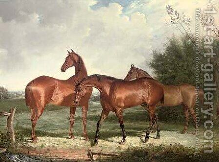 Three hunters in an extensive landscape by Henry Calvert - Reproduction Oil Painting