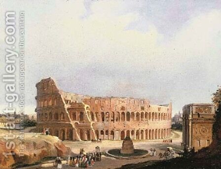 The Colisseum, Rome by Guiseppe Canella - Reproduction Oil Painting