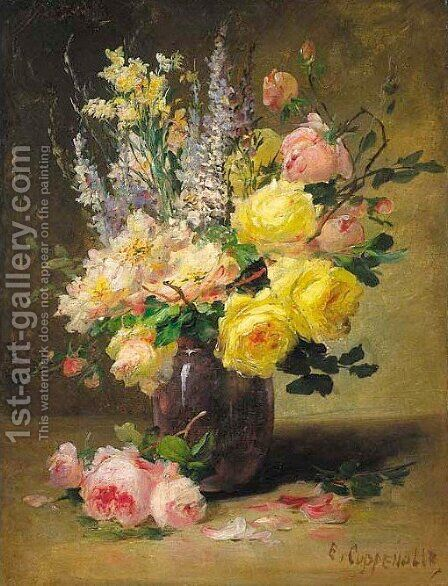 Opulent bouquets 2 by Edmond Van Coppenolle - Reproduction Oil Painting