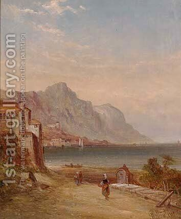 A calm day on Lake Garda, Italy by Alfred Pollentine - Reproduction Oil Painting