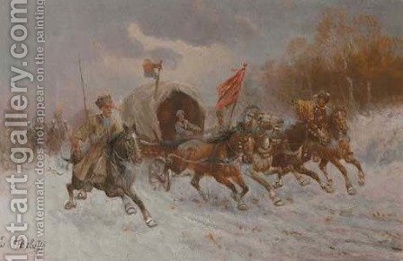 Cossacks on horseback in full gallop by Constantin Stoiloff - Reproduction Oil Painting