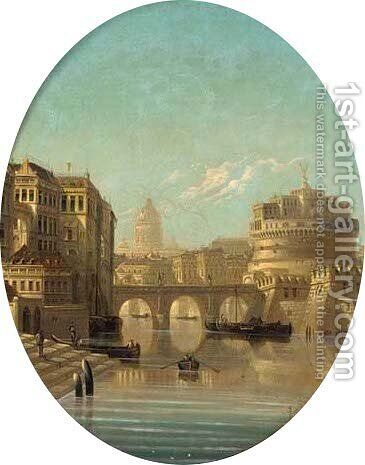 Rome, seen from the Tiber by August von Siegen - Reproduction Oil Painting