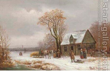 Villagers in snowcovered landscape 2 by Anton Doll - Reproduction Oil Painting