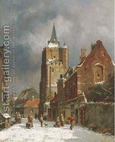 A snow covered street by Adrianus Eversen - Reproduction Oil Painting