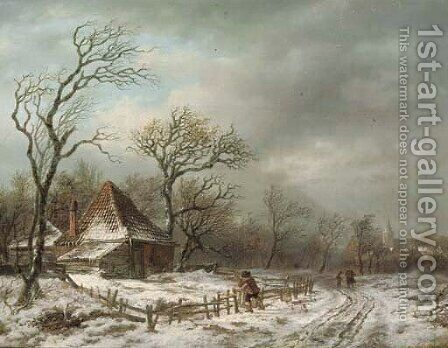Along a country track in winter by Andreas Schelfhout - Reproduction Oil Painting