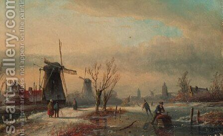 Winter landscape by Andreas Schelfhout - Reproduction Oil Painting