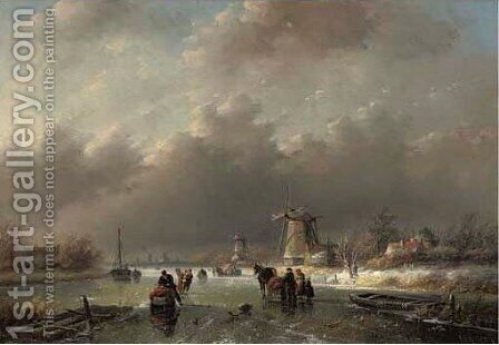 A winter landscape with numerous figures on the ice by Jan Jacob Coenraad Spohler - Reproduction Oil Painting