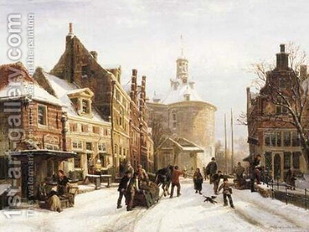 A view of the Zuiderspui, Enkhuizen, in winter with the Drommedaris beyond by Cornelis Springer - Reproduction Oil Painting