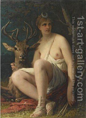 Diana With A Stag by Adolphe Yvon - Reproduction Oil Painting