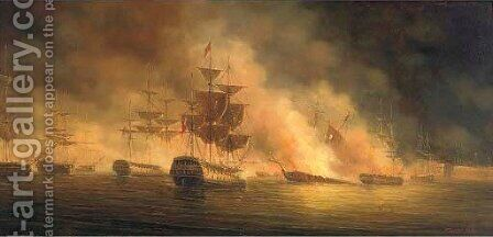 The bombardment of Algiers 2 by James Hardy Jnr - Reproduction Oil Painting