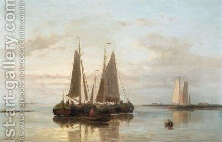 Shipping In Calm Water by Abraham Hulk Snr - Reproduction Oil Painting