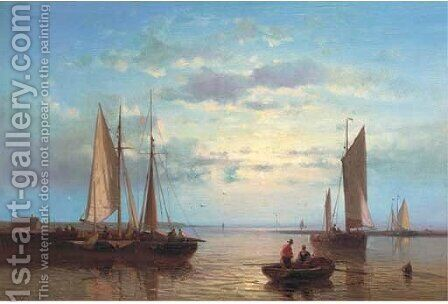 Fishing barges in an onshore breeze by Abraham Hulk Snr - Reproduction Oil Painting