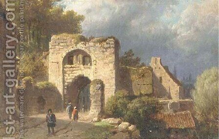 At the old town gate by Barend Cornelis Koekkoek - Reproduction Oil Painting