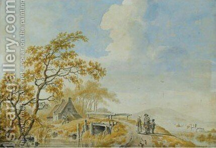 A summer landscape with figures on a bridge by Barend Cornelis Koekkoek - Reproduction Oil Painting