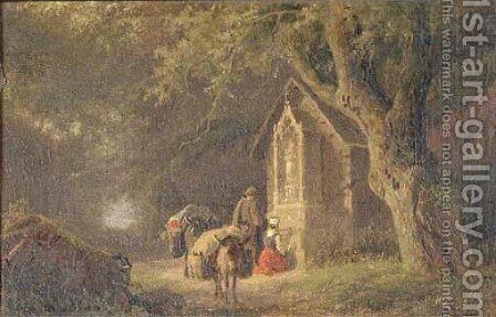 Travellers by a chapel in a forest by Barend Cornelis Koekkoek - Reproduction Oil Painting