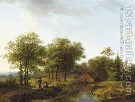 Figures on a winding path in summer by Barend Cornelis Koekkoek - Reproduction Oil Painting