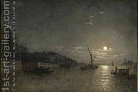 A Moonlit View On The Grand Canal, Venice by Henry Pether - Reproduction Oil Painting