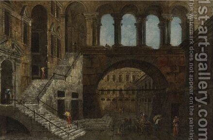 Architectural Fantasy With Gothic Arches by Jacob More - Reproduction Oil Painting