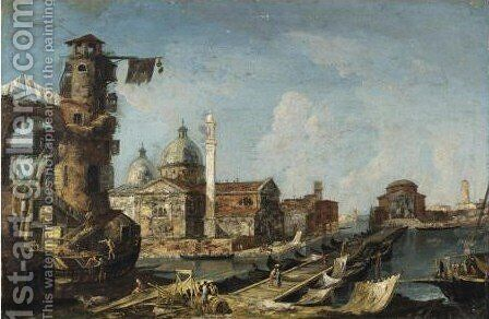 Capriccio Architettonico Con Chiesa Palladiana Con Cupole E Torre by Jacob More - Reproduction Oil Painting