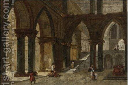 Architectural Fantasy With A Staircase In An Open Courtyard by Jacob More - Reproduction Oil Painting