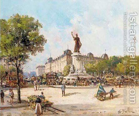 Place de Clichy by Gustave Mascart - Reproduction Oil Painting