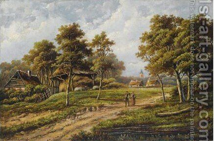 Travellers In A Summer Landscape by Hendrik Barend Koekkoek - Reproduction Oil Painting