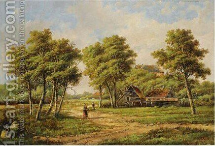 Peasants Near A Farm Stead by Hendrik Barend Koekkoek - Reproduction Oil Painting